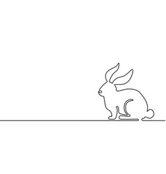 easter bunny banner background in simple one line vector image