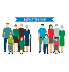 Family in protective medical masks protection vector