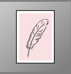 Feather poster for interior decor vector