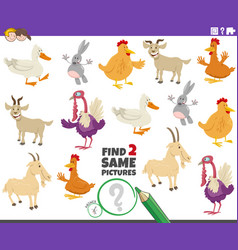 Find two same farm animals educational task vector