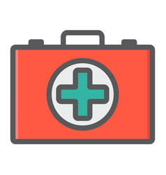 first aid kit box filled outline icon medicine vector image