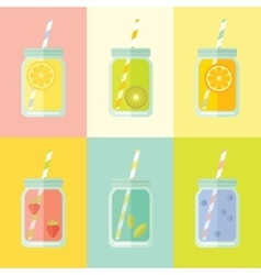 Flat colorful set of mason jar vector