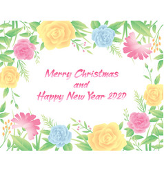 floral frame merry christmas and new year text vector image