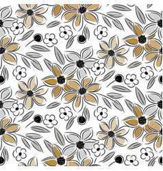 flowers vintage handdrawn sand colors seamless vector image