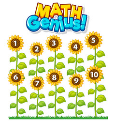 Font design for math genius with number one to vector