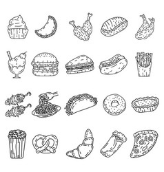 food icon set doodle hand drawn or black outline vector image