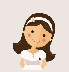 Foreground girl with communion dress on ocher vector