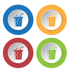 Four round color icons carbonated drink and straw vector