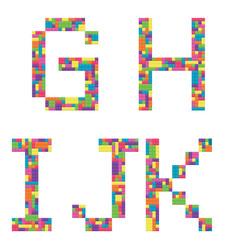 G h i j k alphabet letters from children vector