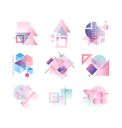 geometric logo set colorful abstract elements vector image