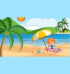 girl at beach vector image