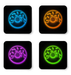 glowing neon donut with sweet glaze icon isolated vector image