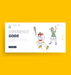 Greece mythology characters landing page template vector