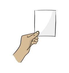 hand hold blank paper with copyspace vector image