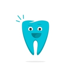 Happy dental tooth cheerful healthy with smile vector