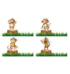 Happy monkeys on the stump trees vector