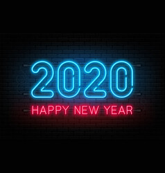 happy new year 2020 neon sign glowing text vector image