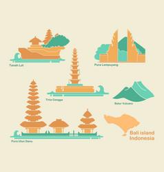 Indonesia bali flat landmarks vector