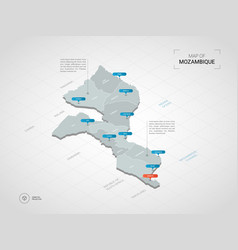 isometric mozambique map with city names and vector image