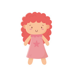 Kids toy cute doll with pink dress vector