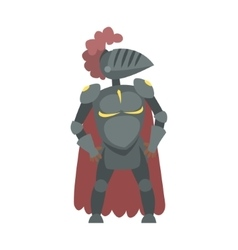 Knight with burgundy cape and plumage fairy tale vector