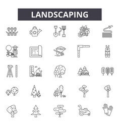 Landscaping line icons signs set outline vector