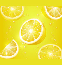 lemon realistic background lemonade with slices vector image