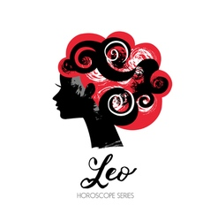 Leo zodiac sign Beautiful girl silhouette vector