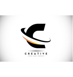 Letter c swoosh logo with creative curved swoosh vector