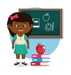 little afro schoolgirl with chalkboard vector image