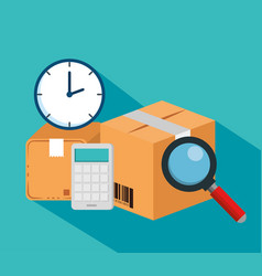 Logistic services with carton boxes vector