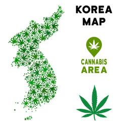 Marijuana mosaic north and south korea map vector