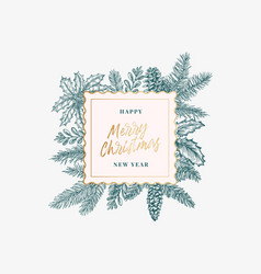 merry christmas abstract botanical card vector image
