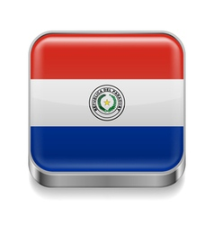 Metal icon of Paraguay vector