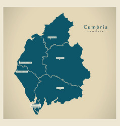 Modern map - cumbria county with districts uk vector