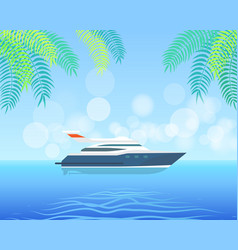 modern yacht sailing in sea or ocean on background vector image
