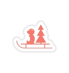 Paper sticker on white background Bear sled tree vector