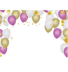 party balloons confetti and ribbons vector image