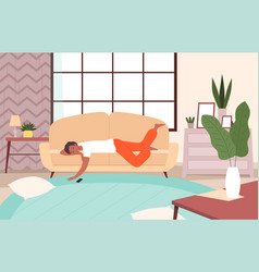 people lying on sofa lazy person relax in living vector image