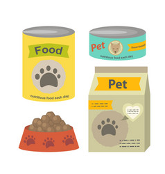 Pet food set flat isolated vector