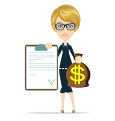 Picture of woman with dollar signed bag vector image