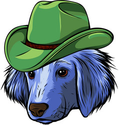 Puppy head dog with hat vector