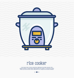 rice cooker thin line icon vector image