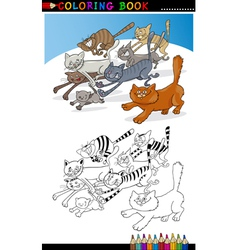 Running Cats for Coloring Book or Page vector