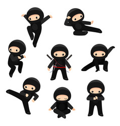 Set cute ninjas in various poses isolated vector
