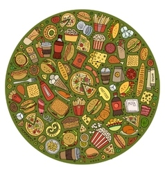 Set fast food cartoon doodle objects symbols vector
