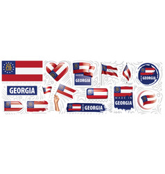 set flags american state of vector image
