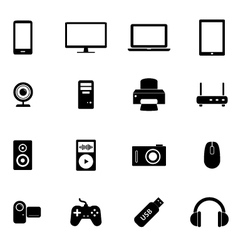 set flat icons- electronic devices pc hardware vector image