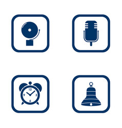 set of audible icons alarm bell microphone alarm vector image