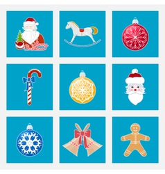 Set of Colorful Christmas Square Icons vector